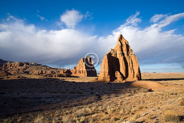 clouds, deserts, digital, horizontal, lower cathedral valley, rock formations, temple of the moon, temple of the sun, utah, winter, capitol reef national park, featured
