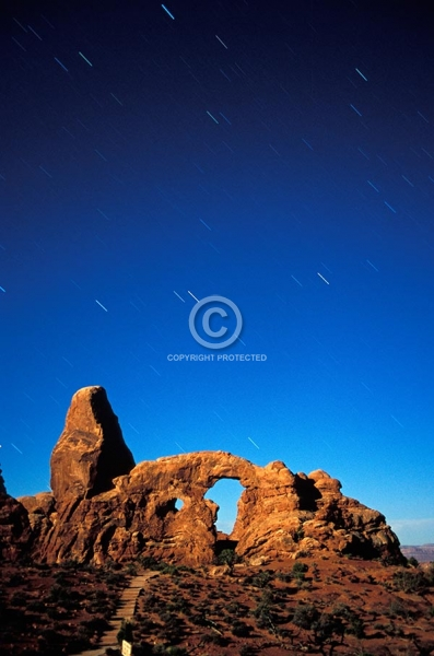utah, vertical, desert, natural arches, arches national park, moab, turret arch, night, stars, star trails, summer, rock formations, featured