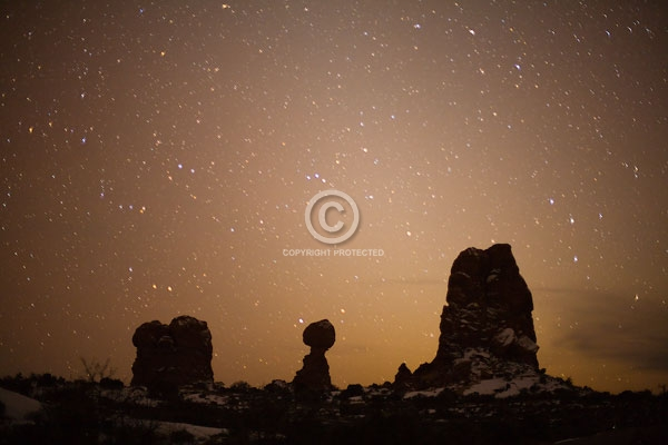 arches national park, balanced rock, digital, horizontal, moab, national parks, night, rock formations, snow, stars, utah, winter
