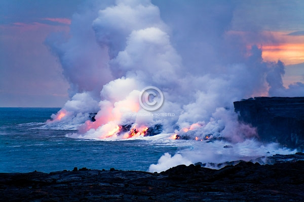 big island, digital, hawaii, horizontal, kilauea, lava flows, oceans, pacific ocean, pu`u `o`o eruption, smoke, summer, sunsets, featured