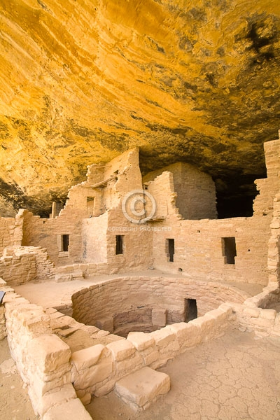 anasazi indians, ancestral puebloans, buildings, colorado, digital, indian ruins, kivas, mesa verde national park, native americans, prehistoric, spruce tree house, summer, vertical, western slope, featured