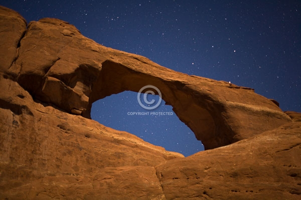 arches national park, deserts, digital, horizontal, moab, national parks, natural arches, night sky, rock formations, skyline arch, stars, summer, utah