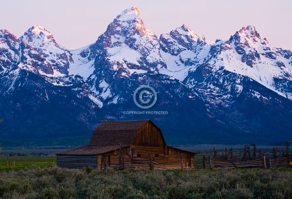 barns, digital, grand teton national park, grand tetons, horizontal, mormon row, national parks, rocky mountains, snow, summer, sunrises, wyoming, featured