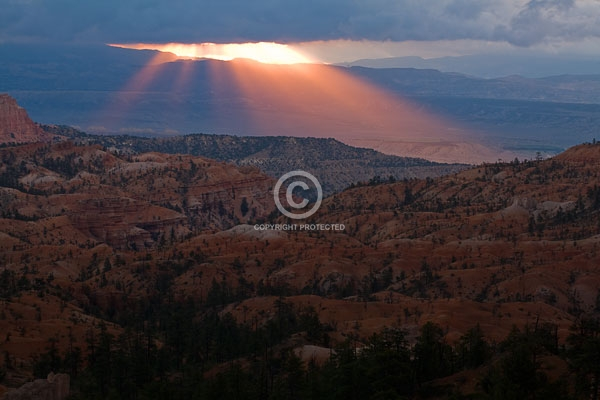 bryce canyon national park, deserts, digital, horizontal, light beams, national parks, summer, utah, featured