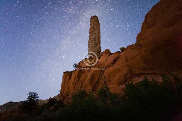 chimney rock, deserts, digital, horizontal,  kodachrome basin state park, night, rock formations, sand pipe, stars, summer, utah