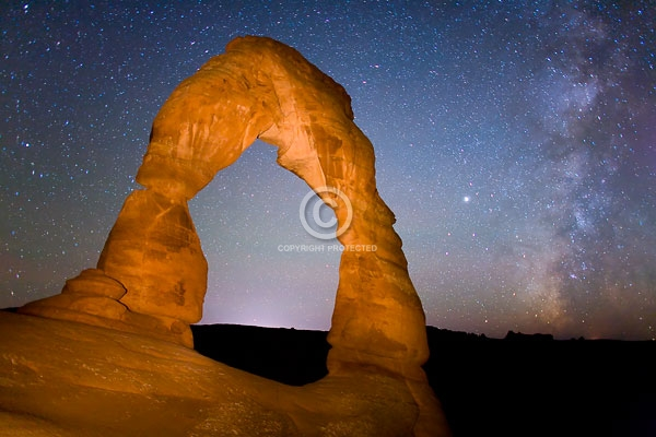 arches national park, autumn, delicate arch, deserts, digital, horizontal, light painting, moab, national parks, natural arches, night, rock formations, stars, the milky way, utah