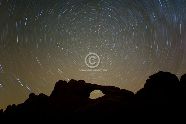 arches national park, autumn, deserts, devils garden, digital, horizontal, moab, national parks, natural arches, night, rock formations, skyline arch, star trails, stars, utah