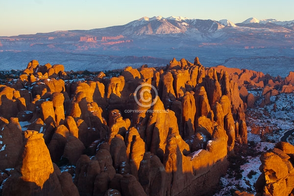arches national park, colorado plateau, deserts, digital, fiery furnace, fins, horizontal, la sal mountains, moab, national parks, rock formations, utah, winter, featured