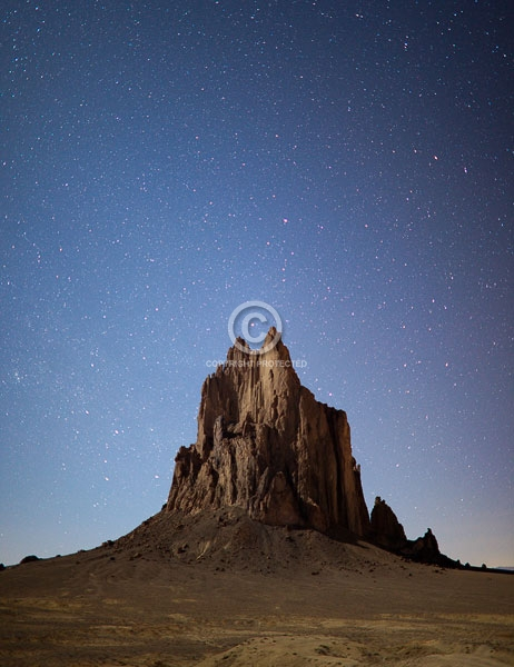 colorado plateau, deserts, digital, new mexico, night, rock formations, shiprock, stars, summer, vertical