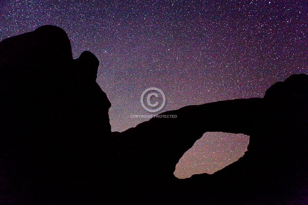 arches national park, colorado plateau, deserts, digital, horizontal, moab, national parks, natural arches, night, rock formations, south window, stars, summer, utah