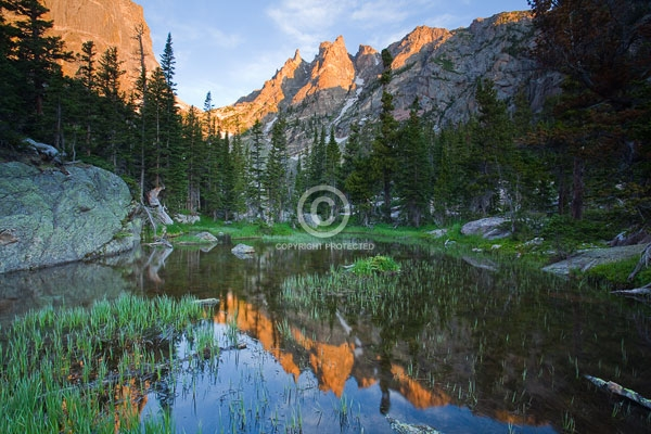 colorado, digital, dragon's tail, flattop mountain, front range, hallett peak, horizontal, lakes, national parks, peaks, pine trees, ponds, reflections, rocky mountain national park, rocky mountains, summer, sunrises, featured