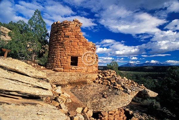 colorado, horizontal, indian, native american, ruins, rocks, anasazi, prehistoric, ancient, canyons of the ancients national monument, painted hand pueblo, buildings, summer, clouds, western slope, deserts, featured