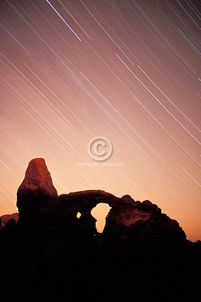 utah, arches national park, vertical, rock formations, turret arch, natural arches, summer, stars, star trails, the windows, night