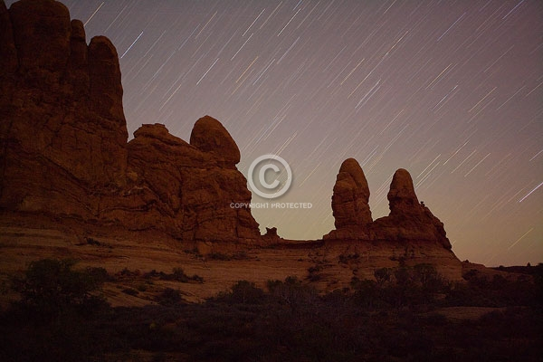 arches national park, moab, utah, autumn, deserts, digital, horizontal, night sky, rock formations, star trails, stars